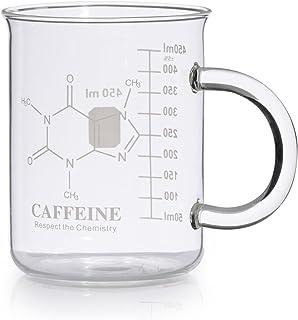 Caffeine Beaker Mug, Caffeine Molecule Mug – Chemistry Mug 16 oz Borosilicate Glass..