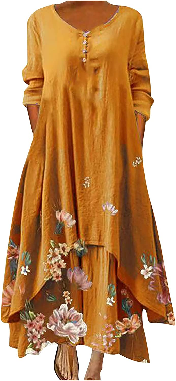 5665 Womens Summer Dress Casual Floral Print Dress Button Up O-Neck Long Sleeve Irregular Tier Hem Flutter Loose Long Dress