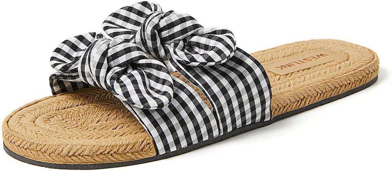 Summer New Non-Slip Plaid Cute Bow Flat Slippers Women Wear (color   A, Size   39-245mm)