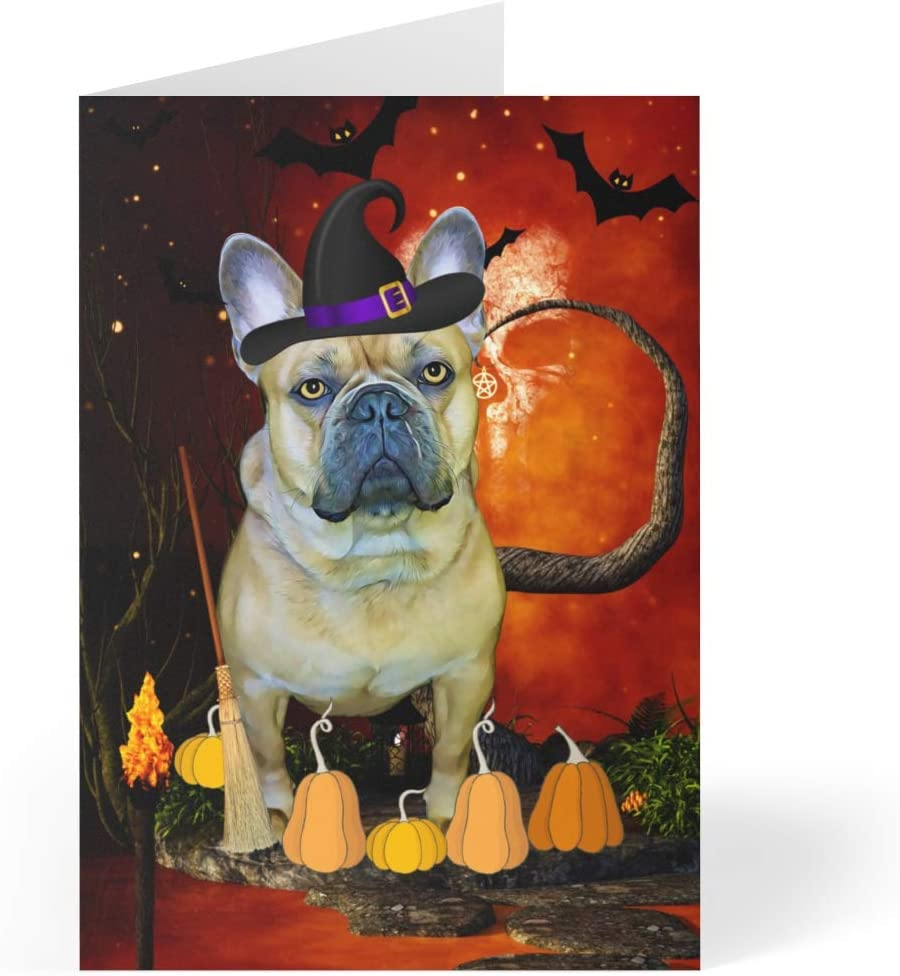 Brown French Bulldog Dog Halloween Greeting inches Cards Easy-to-use x - 7 Financial sales sale 5