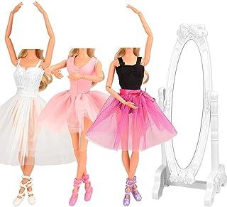 Barwa 10 Accessories for 11.5 Inch 30 cm Dolls: 3 Ballerina Dresses (White + Pink + Purple Black) + 3 PCS Ballerina Shoes...