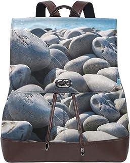 FANTAZIO Mochilas Rocks Beach Blue Sky School Bag Mochila de piel