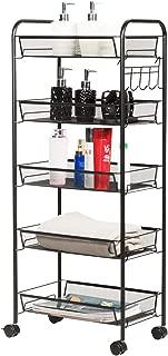 Giantex Storage Rack Trolley Cart Home Kitchen Organizer Utility Baskets with 5 Hooks (5 Tier, Black)