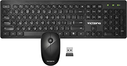VicTsing Wireless Keyboard and Mouse Combo, 2.4GHz Full Size Quiet Keyboard and Silent Mouse, Num Lock/Caps Lock/Power Indicator, USB Unifying Receiver, for both Office & Home Use, Work for PC, Laptop
