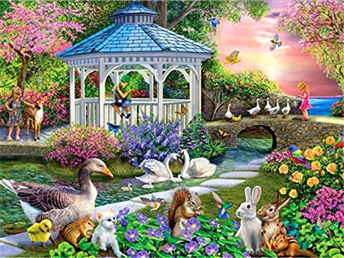 Full Diamond Painting'House Flower Landscape' Resin Drill Embroidery 5D DIY Diamond Painting Handmade Cross Stitch Gift A11 60x80cm