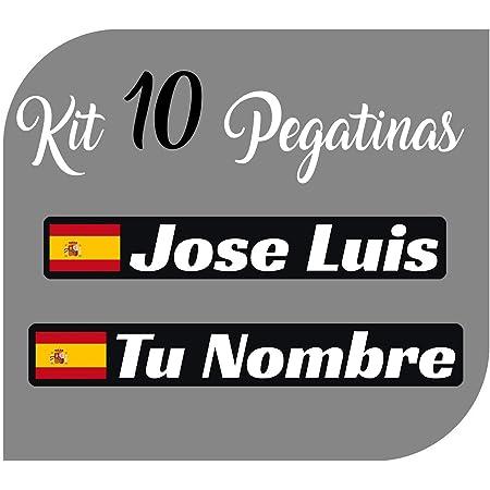 Kit x10 Pegatinas Vinilo Bandera España + tu Nombre - Bici, Casco, Pala De Padel, Monopatin, Coche, Moto, etc. Kit de Diez Vinilos (Pack Fuentes 1)