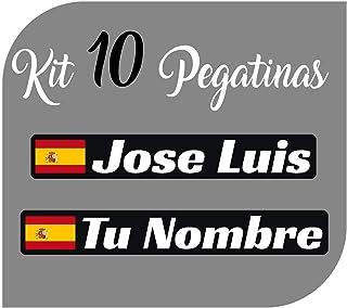 Kit x10 Pegatinas Vinilo Bandera España + tu Nombre - Bici, Casco, Pala De Padel, Monopatin, Coche, Moto, etc. Kit de Diez...