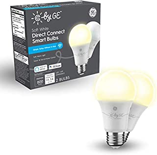 لامپ لامپ اتصال مستقیم C توسط GE Soft White (2 لامپ LED هوشمند A19) ، تعویض 60 وات ، 2 بسته ، لامپ بلوتوث ، لامپ Wi-Fi ، لامپ هوشمند با Alexa و Google Home بدون هاب کار می کند