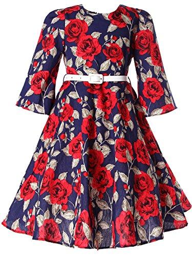 BONNY BILLY Vestiti Bambina Cerimonia Eleganti Vintage Floreali Invernali Manica Lunga con Cintura 4-5 Anni Rosso