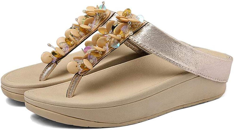 Women Platform Sandals,Sequin Pansy Beach shoes Swing Wedge Hole shoes Non-Slip Flip Flops