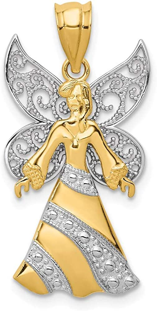 14k White and Yellow Gold Pendant Rhodium Ranking TOP18 Angel Plated with Max 76% OFF