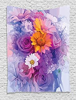 Ambesonne Watercolor Flower Decor Collection, Bouquet of Rose, Daisy and Gerbera Flowers Floral Impressionist Style, Bedroom Living Kids Girls Room Dorm Accessories Wall Hanging Tapestry, Purple Lilac