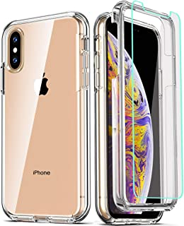 COOLQO iPhone Xs Max Case, Compatible for iPhone Xs Max Cases with [2 x Tempered Glass Screen Protector] Clear 360 Full Bo...