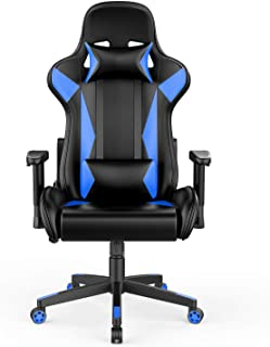 AmazonBasics Gaming/Racing Style Office Chair with Removable Headrest and High Back Cushion - Blue
