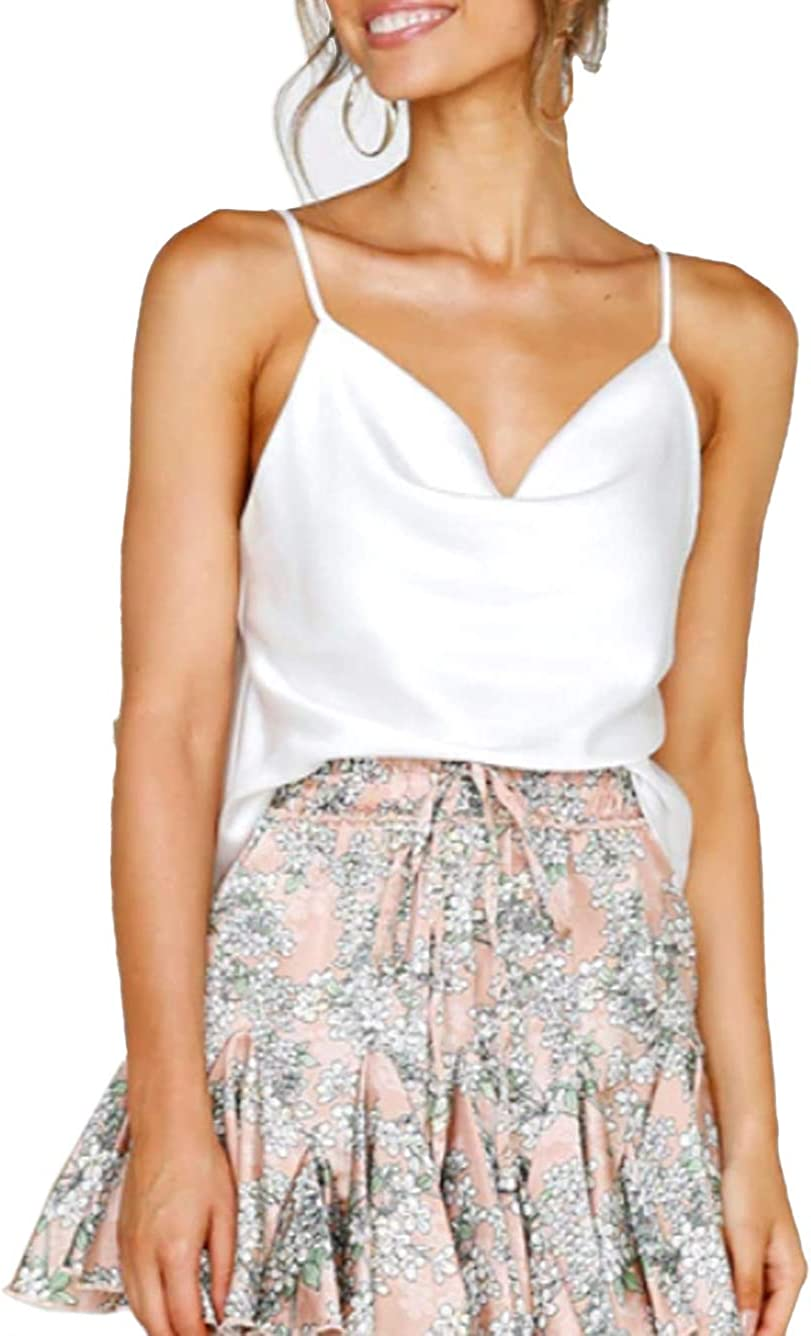 Famulily Women Cowl Neck Silky Cami Tank Top Soft Summer Strappy Camisole Crop Top