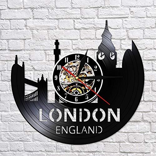 BFMBCHDJ London England Cityscape Schallplattenuhr Großbritannien Tower of London City Skyline Wohnkultur Retro Wanduhr Keine LED 12 Zoll