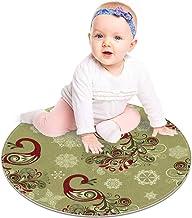 EZIOLY - Alfombra Redonda de Invierno con diseño de Pavo Real y Copos de Nieve, para Dormitorio de niños, habitación de bebé, Sala de Juegos, Alfombra de guardería, 60 x 60 cm