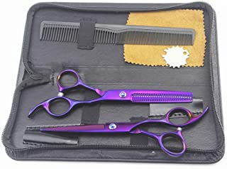 Hairdressing Scissors Set, Hair Thinning Scissors Barber Shears Hair Cutting Scissors with Barber Cape for Women Kids Men