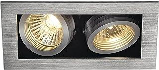 SLV Spots encastrables KADUX 2 Lampes | Indoor Aluminium/Acier | Couleur Argent Lampe Intérieure | Lampe d'Intérieur