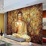 WWMJBH Tapete Selbstklebend (B) 250X (H) 175Cm Golden Buddha Fototapete Buddhistischer Tempel Wandtapete 3D Tapete Designer Schlafzimmer Wohnzimmer Wandkunst Wohnzimmer Tv Hintergrund Tapete