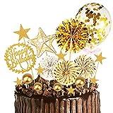 MMTX Oro Decoración para Tartas de Cumpleaños Cupcake Toppers con Abanicos de Papel Globos Confeti Cupcake Topper para Oro Tema Partido Decoración Niña Chico Niño Mujer Hombre