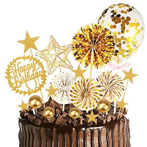MMTX Oro Decoración para Tartas de Cumpleaños Cupcake Toppers con Abanicos de...