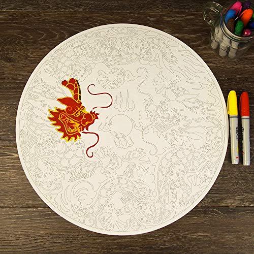 EricauBird Chinesischer Drache Mandala ColorMe Aufkleber einfach anzubringen und zu entfernen