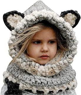 Shinetop Baby Kids Winter Warm Hat Scarf Set Infant Toddler Crochet Knitted Woolen Caps Cute Earflap Hood Scarves Beanies