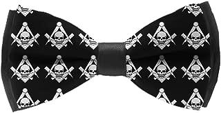Men's Classic Pre-Tied Adjustable Length Bowtie, Party Bow Tie - Cool Skull Freemason Logo Black