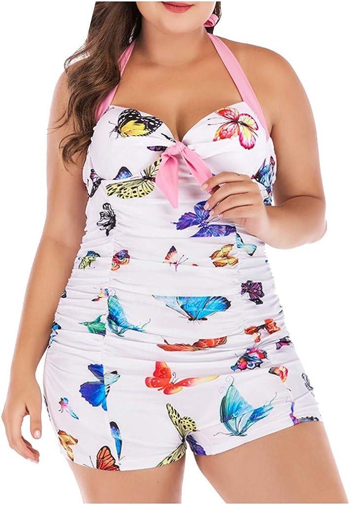 ZHONGLING Two Piece Swimsuits for Women Plus Size Tummy Control Swimwear Modest Bathing Suits with Boyshort Tankini Swimsuits