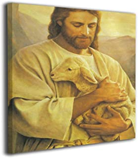 Beelit Art Jesus Holding Lamb In Mountain Canvas Wall Art One Panels Pictures 12x12 Inch Contemporary Painting For The Walls Of Bathroom Office Modern Home Decoration