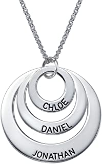 Engraved Jewelry for Moms - Three Circle Necklace in 925 Silver - Custom Made Pendant with Any Name