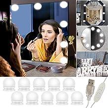 Spiegellicht, 10 lampen Hollywood, spiegel voor make-up met licht, spiegellamp, dimbaar, lamp met 3 kleurmodi voor spiegel...