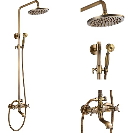 Details about  /Gold Color Brass Wall Mounted Bathroom Hand Held Shower Head Faucet Set fna970