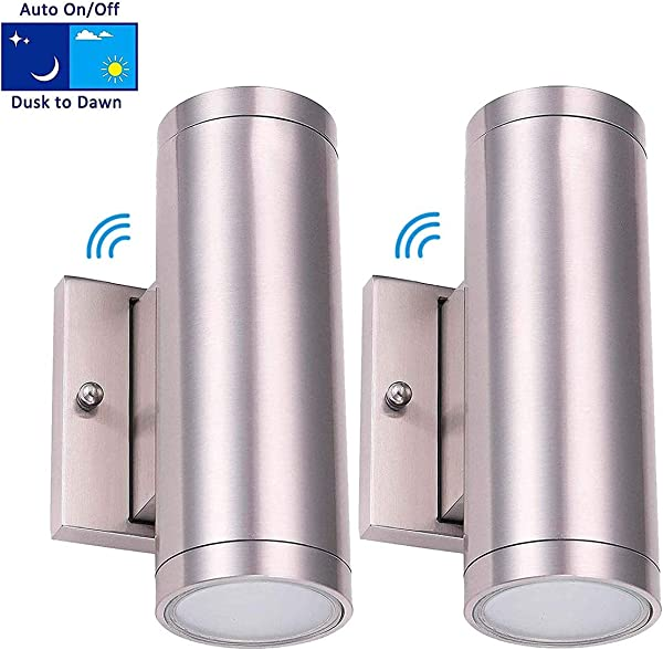 Cloudy Bay LED Outdoor Wall Lamp Up And Down Wall Light With Dusk To Dawn Photocell 18W 3000K Warm White Brushed Nickel Pack Of 2