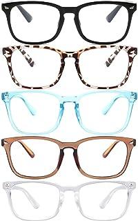 5-Pack Reading Glasses Blue Light Blocking Women Men Square Nerd Eyeglasses Frames Men Readers Anti UV Ray Fashion