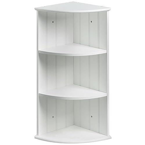 Vonhaus Meuble de Rangement d'Angle 2 Étagères | Blanc | 25.5 x 25.5 x 60.5 cm | Parfait pour la Salle de Bain/Chambre/Salon | Organisation de la Maison