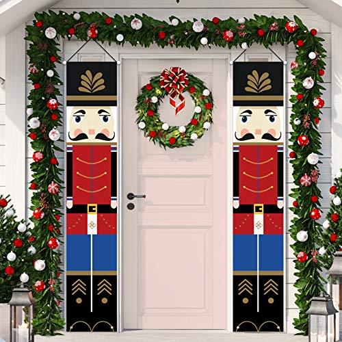 Tatuo Nussknacker Weihnachten Dekoration Weihnachten Tür Banner Outdoor Weihnachten Dekor Soldat Modell Nussknacker Banner für Haustür Veranda Garten Indoor Kinder Party Urlaub Dekoration