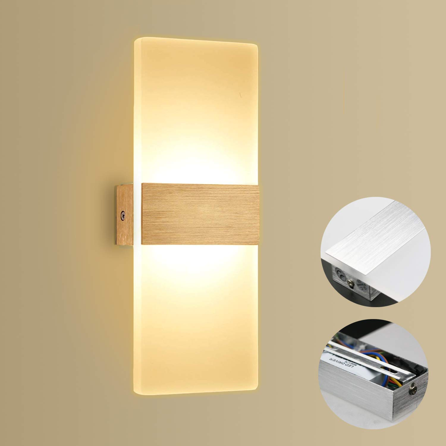 Apliques de Pared 12W Kimjo, Lámpara de Pared Interior LED Blanco Cálido 3000K AC 220V, Lámpara de Pasillo en Acrílico, Moderna Plata Cepillado Perfecto para Corredor, Dormitorio, Escalera: Amazon.es: Iluminación