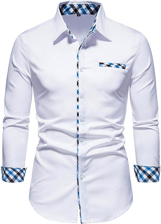 Huangse Men's Dress Shirts Casual Inner Contrast Button Down Shirt Fashion Long Sleeve Plaid Collar Shirts Pocket Party