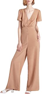 – Women's Short Sleeve V-Neck Wide Leg Pants Jumpsuit with Buttons