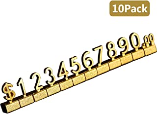 QIQIHOME 10 Sets Counter Stand Label Tag Metal Arabic Number Price Tag Price Display Stand (Gold)