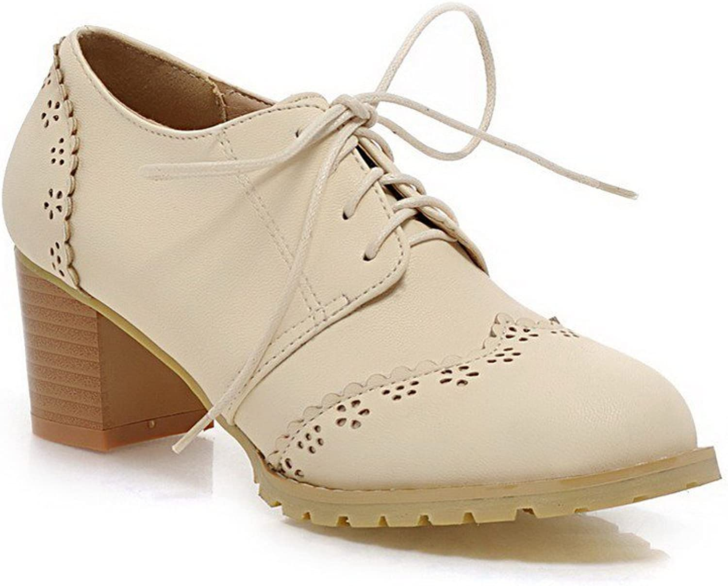 WeiPoot Women's Solid Soft Material Kitten-Heels Lace-up Round Closed Toe Pumps-shoes