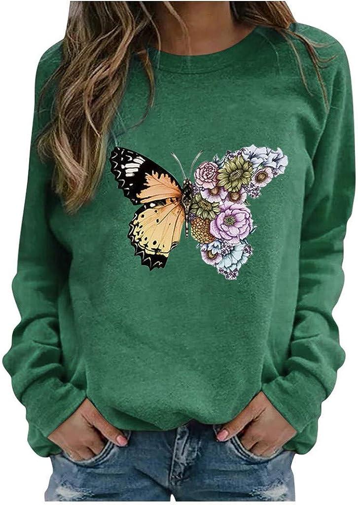 Sweatshirts for Women Long,Women Sweatshirts Tops Long Sleeve Butterfly Print Top Loose Crewneck Pullover Shirts
