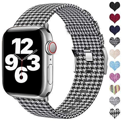 Ouwegaga Compatible con Apple Watch Correa 38mm 40mm 42mm 44mm, Correa de Tela Tejida Nylon de Repuesto Compatible con Apple Watch SE/iWatch Series 6 5 4 3 2 1, Rejilla Blanca 38mm/40mm