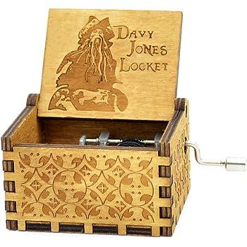 Petite bo/îte /à musique Cuzit en bois de style antique et creuse Pirates des Cara/ïbes 2 Th/ème de Davy Jones