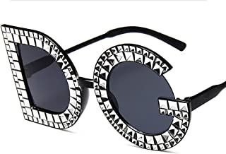 BHM Glasses, Sunglasses - Trend Big Box - Letter Sunglasses - Retro - Plated Diamond Sunglasses - Female Plastic Frame Glasses