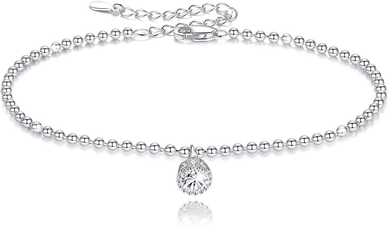 GOXO 925 Sterling Silver Ball Chain Bracelet Cute Friendship Cub
