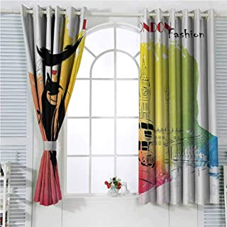 hengshu Fashion House Decor Blackout Shades Curtains Classy and Royal Woman with Hat Symbol of Elegance Sixties in London Streets for Window Curtains Valances W96 x L96 Inch Pink