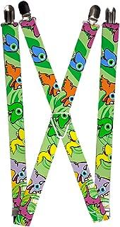 Men's Suspender-Dinosaurs, Multicolor, One Size